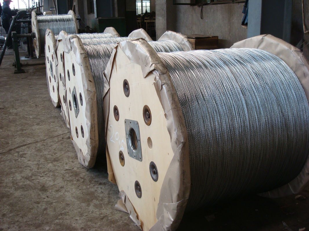 Overhead Electrical Wire Zinc Coated Steel Messenger Cable ASTM A 475 BS 183 JIS G 3537 Material